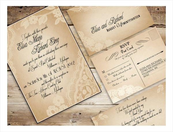 country vintage wedding invitation