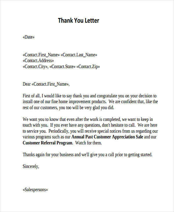 Customer Appreciation Thank You Letter  Thank You Letters