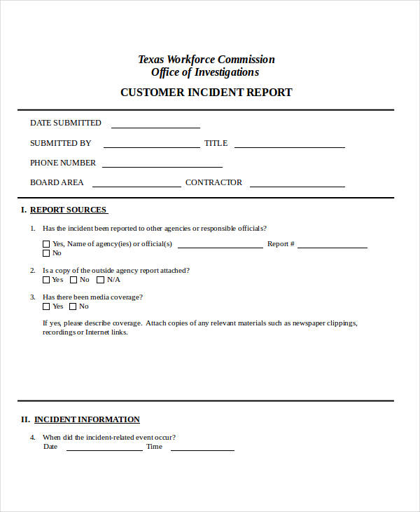 customer complaint incident report