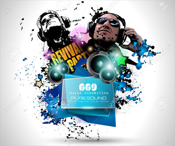 -DJ Event Poster Vector