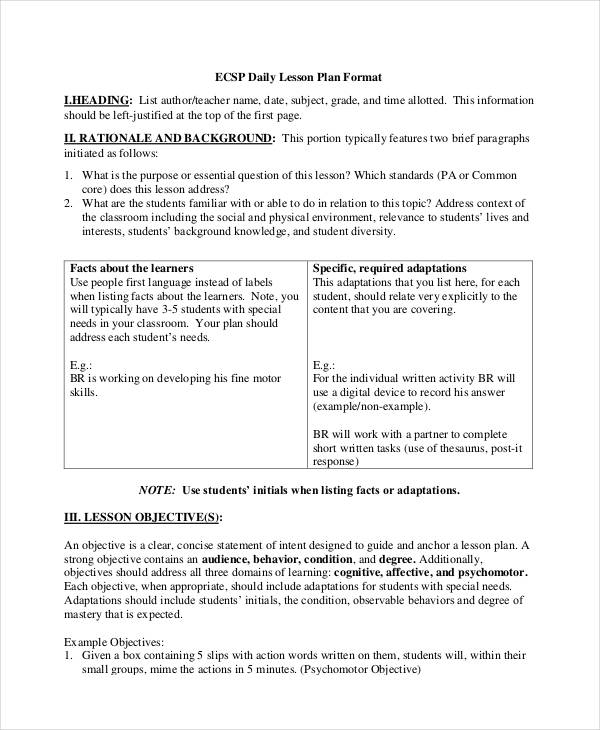 Examples Of Lesson Plans - Lesson plan template example
