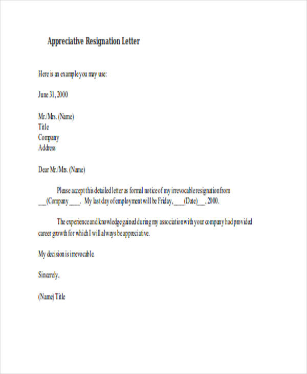 detailed appreciative resignation letter