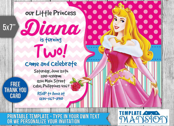 disney princess birthday invitation