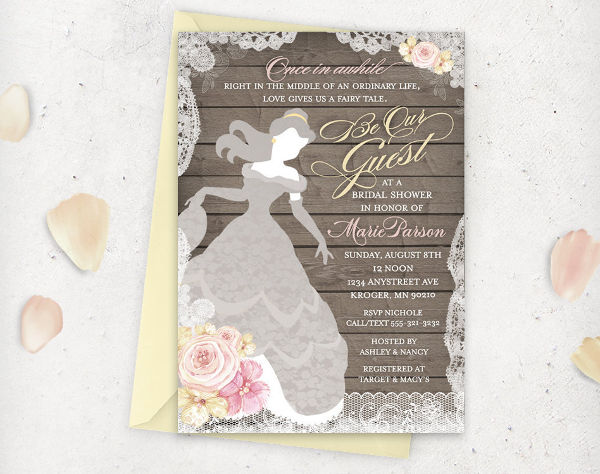 disney princess bridal shower invitation