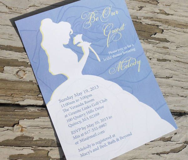 disney themed bridal shower invitation