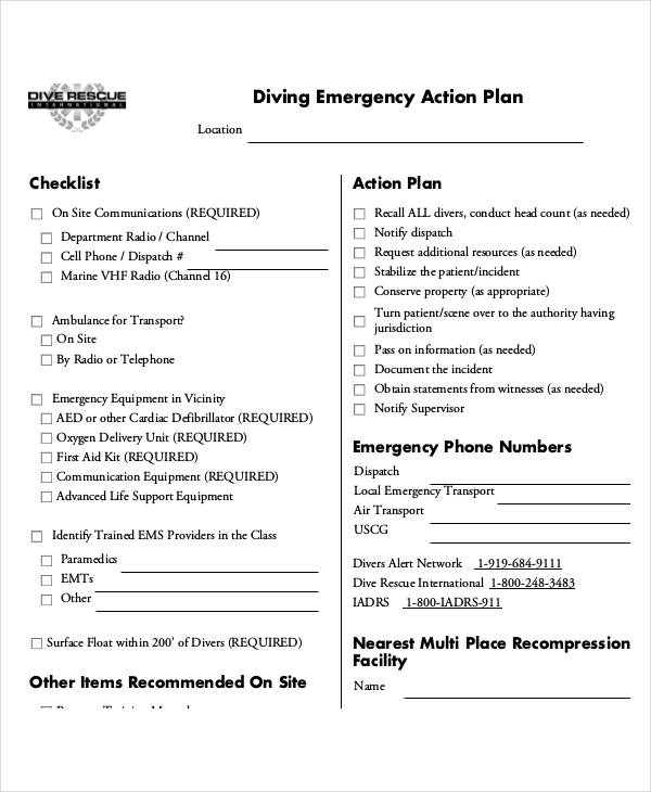 diving emergency action plan