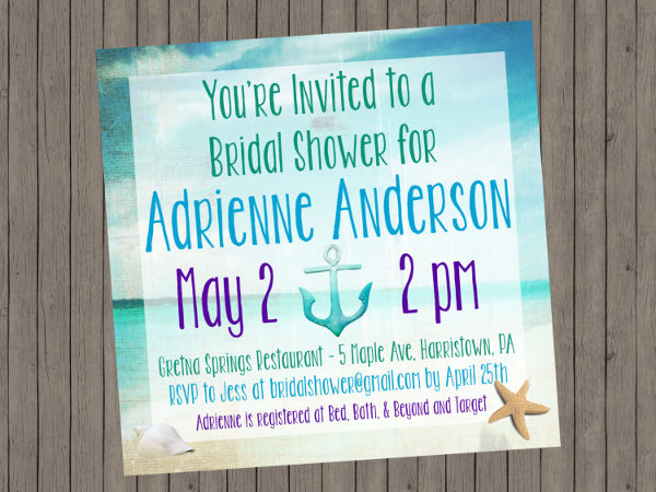 diy beach bridal shower invitation