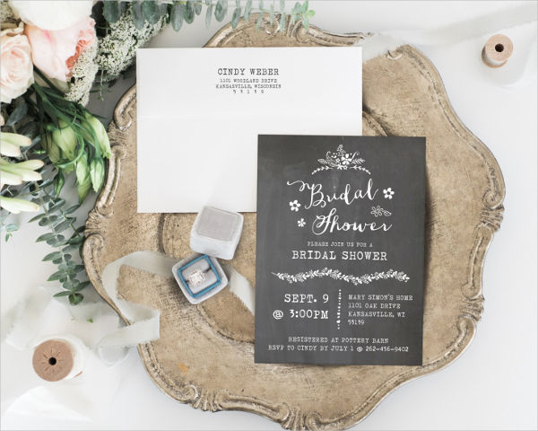 diy chalkboard bridal shower invitation