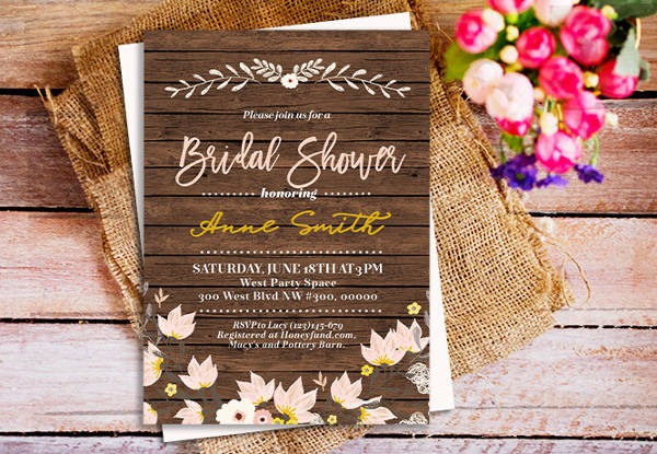 diy rustic bridal shower invitation