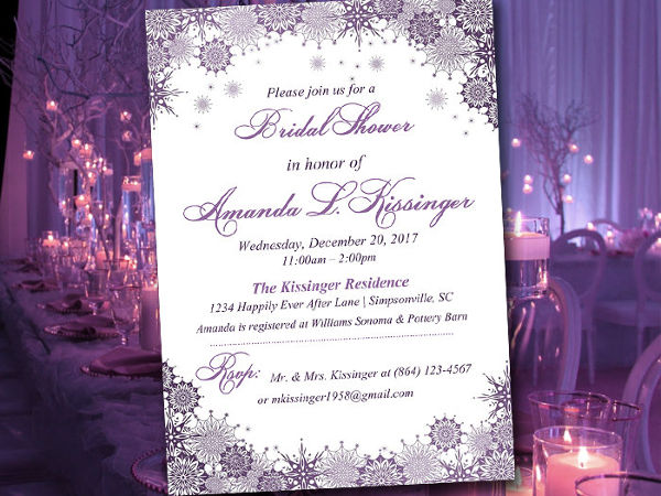 diy winter bridal shower invitation
