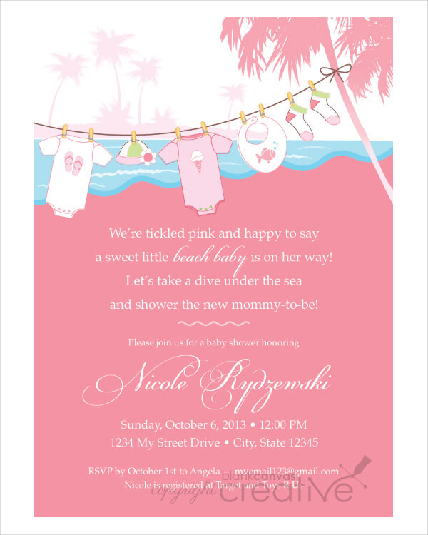 Diy beach Baby Shower Invitation
