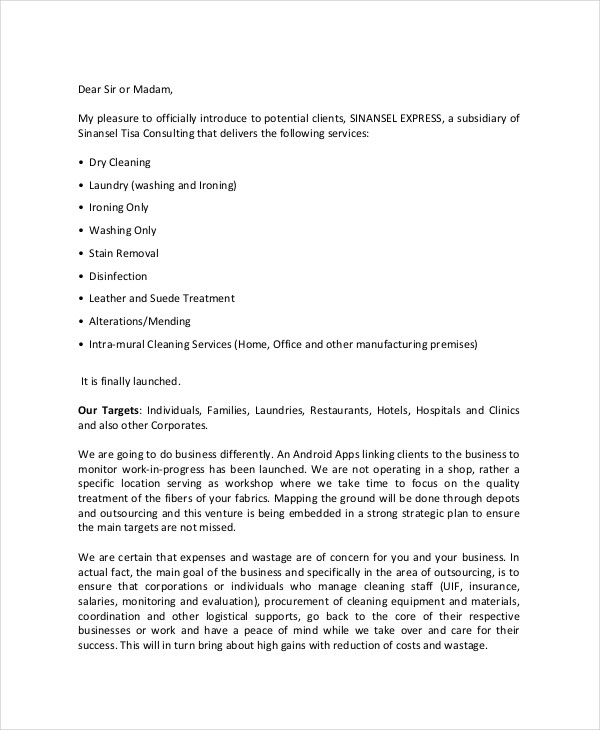dry cleaning business proposal letter - Business Proposal Letter