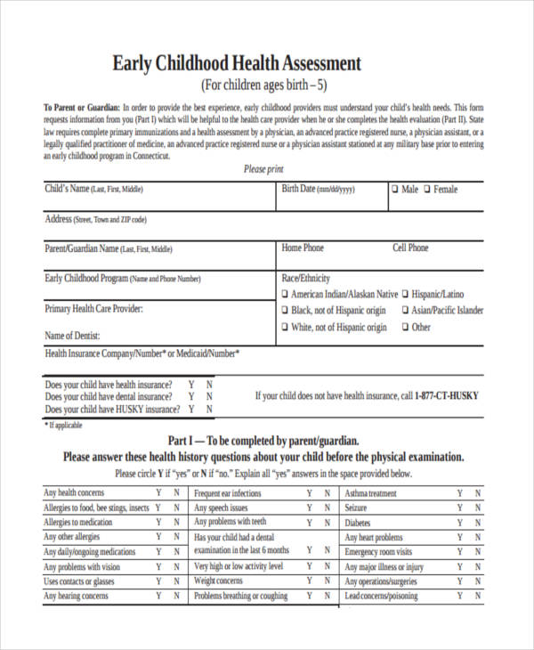 early childhood health assessment