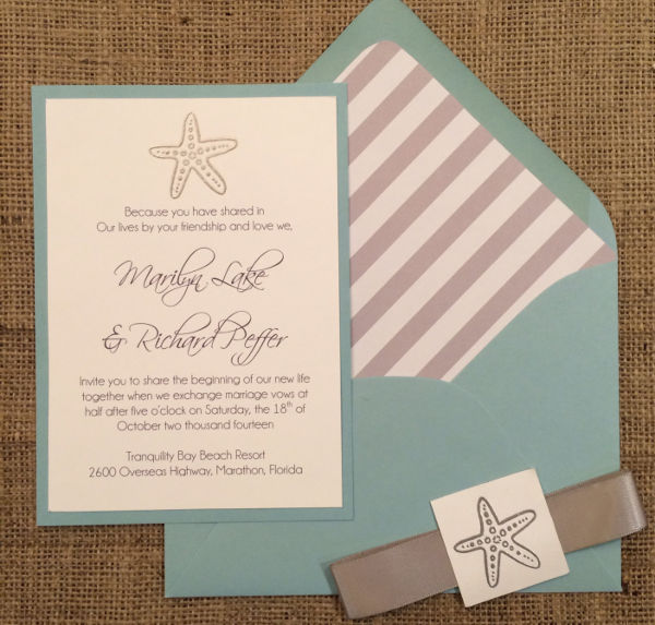 elegant beach wedding invitation