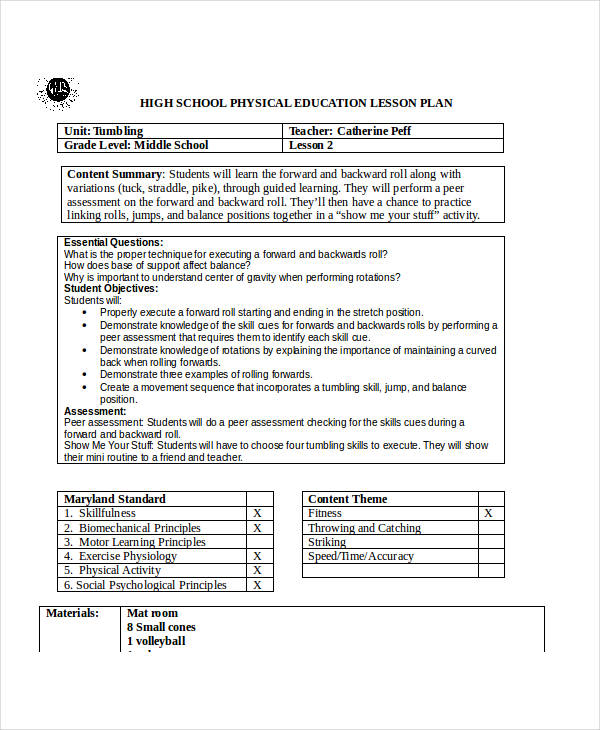 Examples Of Lesson Plans - Blank lesson plan template for physical education