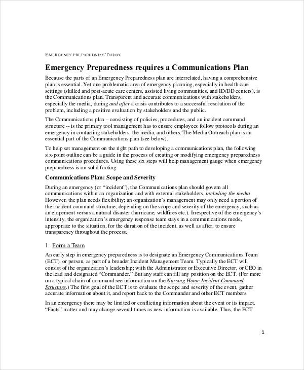emergency preparedness communication plan