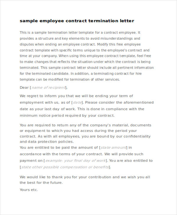 employee contract termination letter - Sample Termination Letter Without Cause