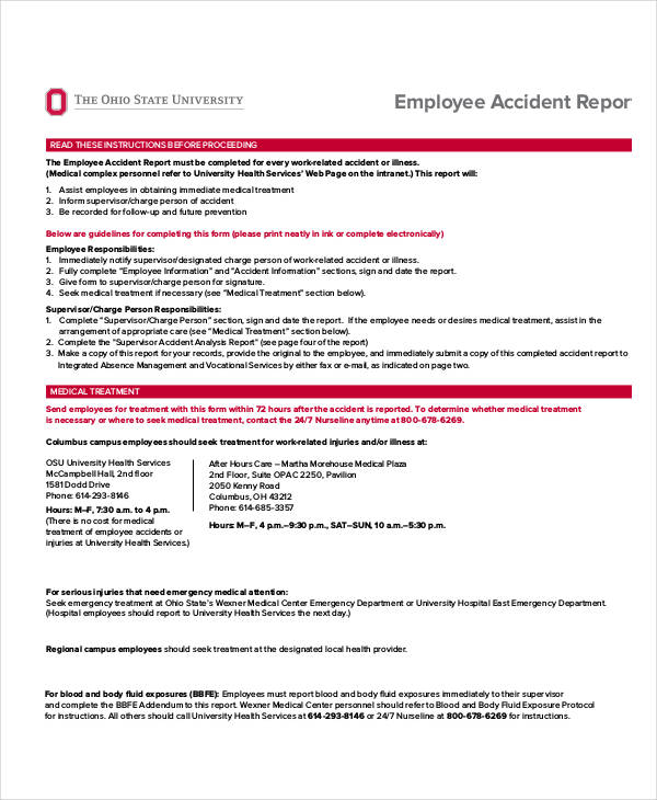 Employee Medical Incident Report  Medical Incident Report Sample