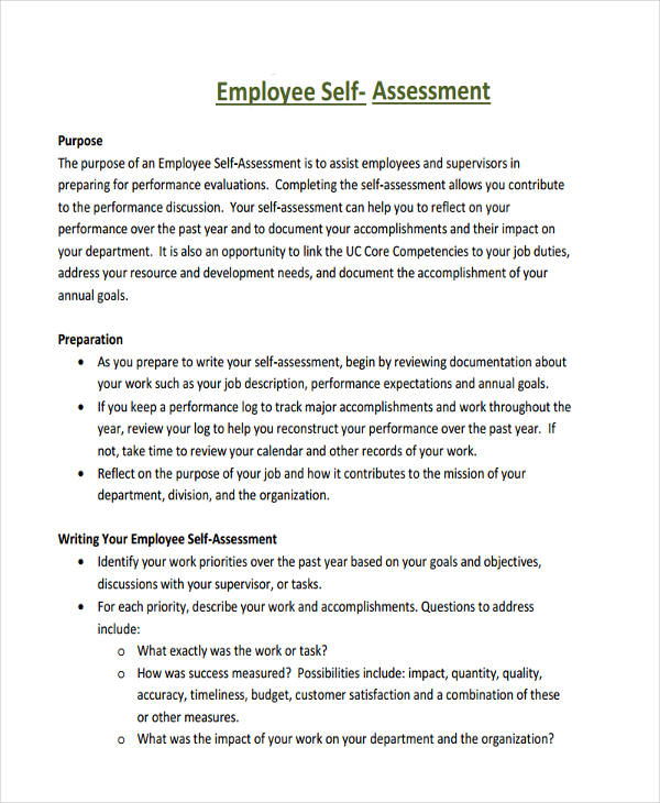 Employee Self Assessment Sample Employee Self Assessment Form