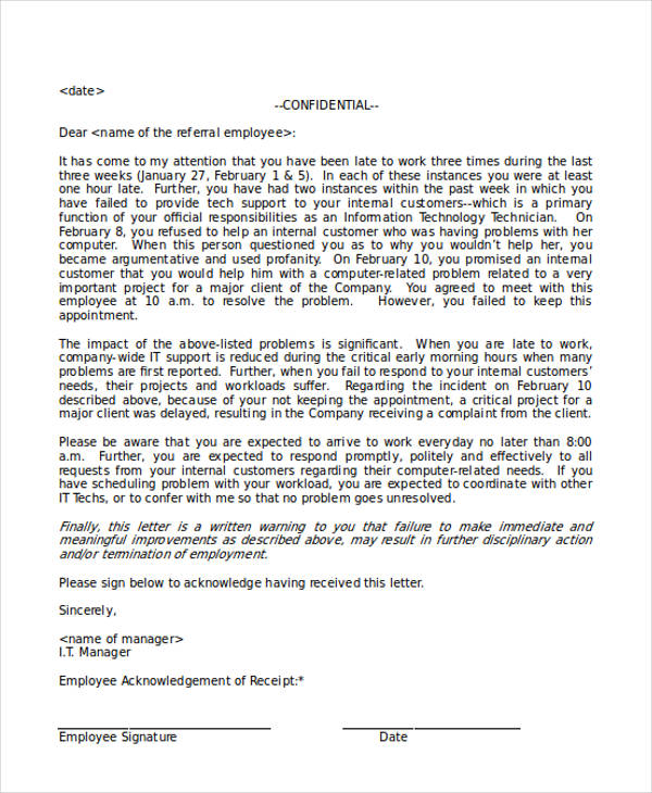 employee referral acknowledgement letter