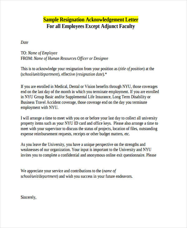 employee resignation acknowledgement letter