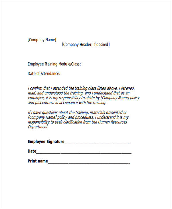 Employee Training Acknowledgement Letter  Employee Training Contract Sample