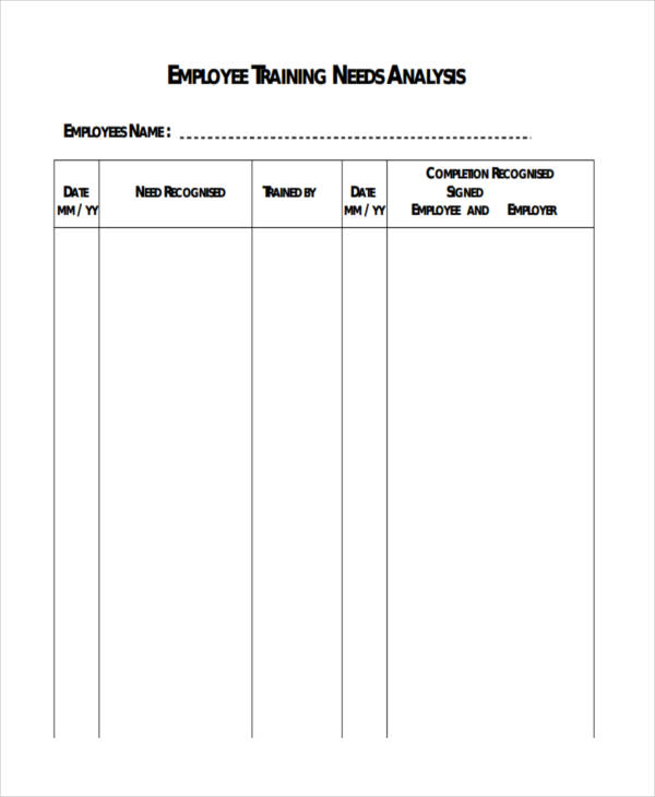 training needs analysis definition pdf