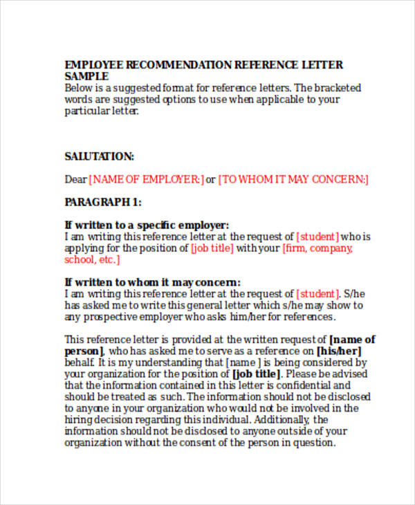 employer reference recommendation letter