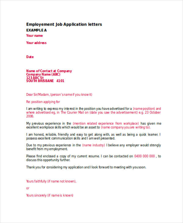 employment job application letter