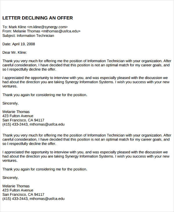 employment offer rejection letter