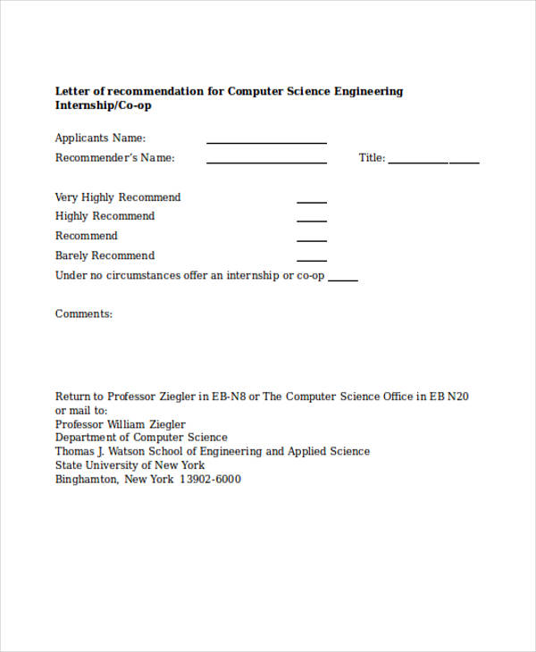 engineering internship recommendation letter