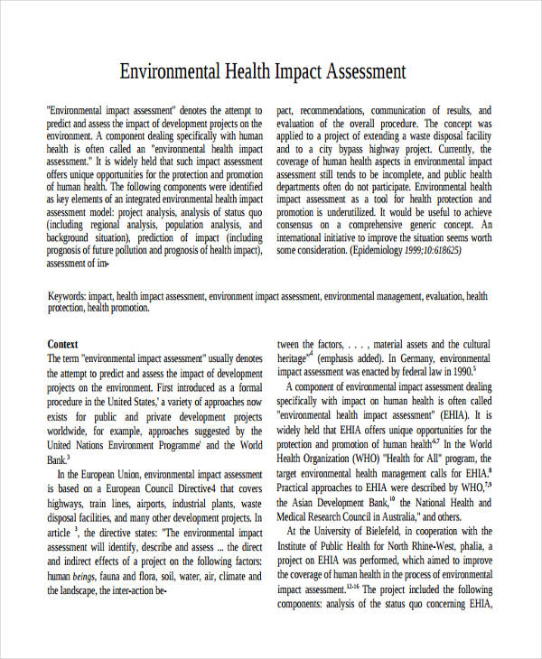 environmental health impact assessment