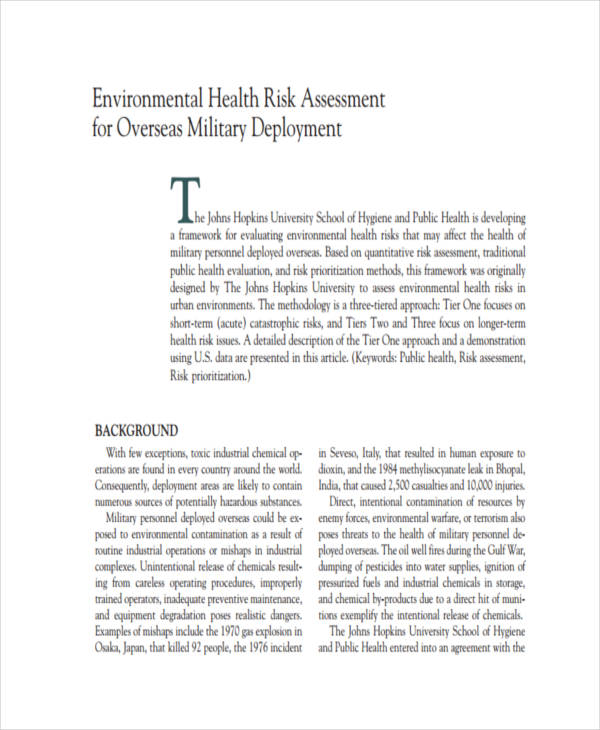 environmental health risk assessment