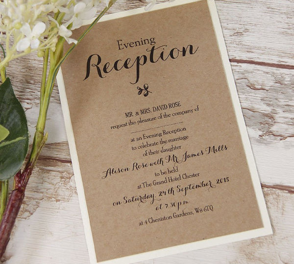 evening wedding party invitation