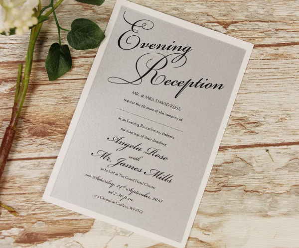 evening wedding reception invitation