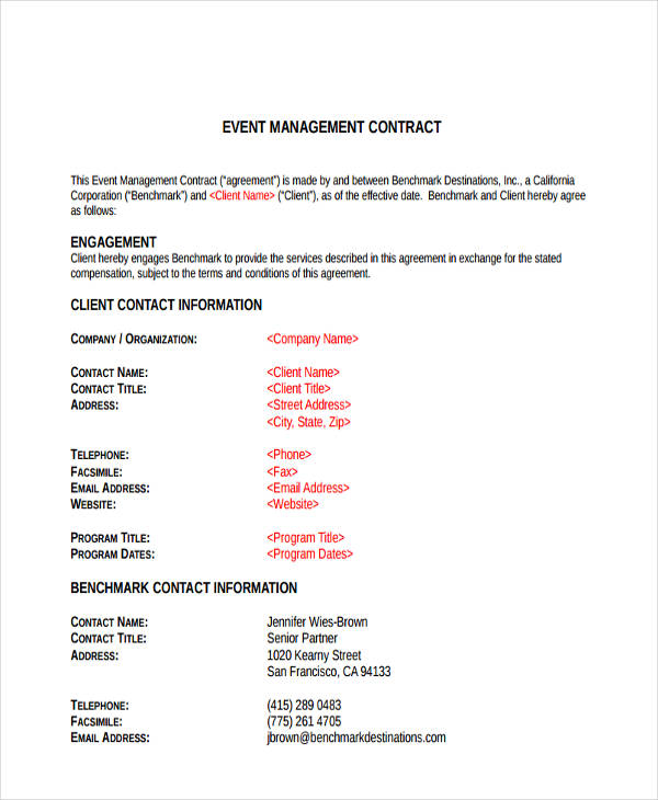 event management client agreement