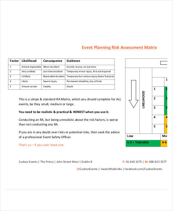 event planning risk assessment
