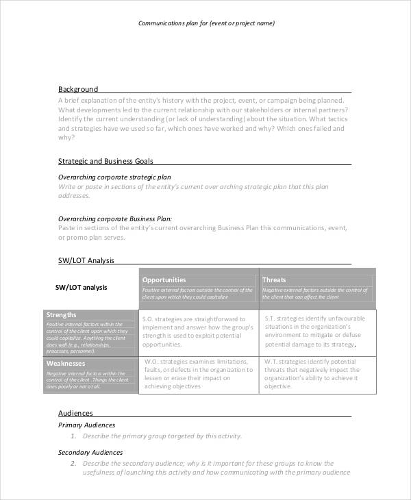 event project communication plan