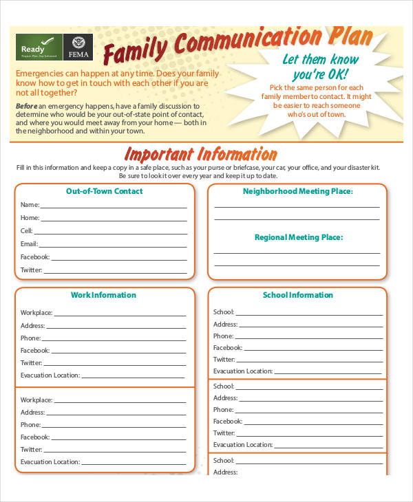family communication plan for parents