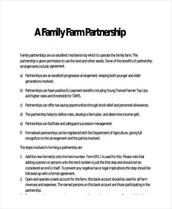 farm partnership agreement template 49 examples of partnership agreements