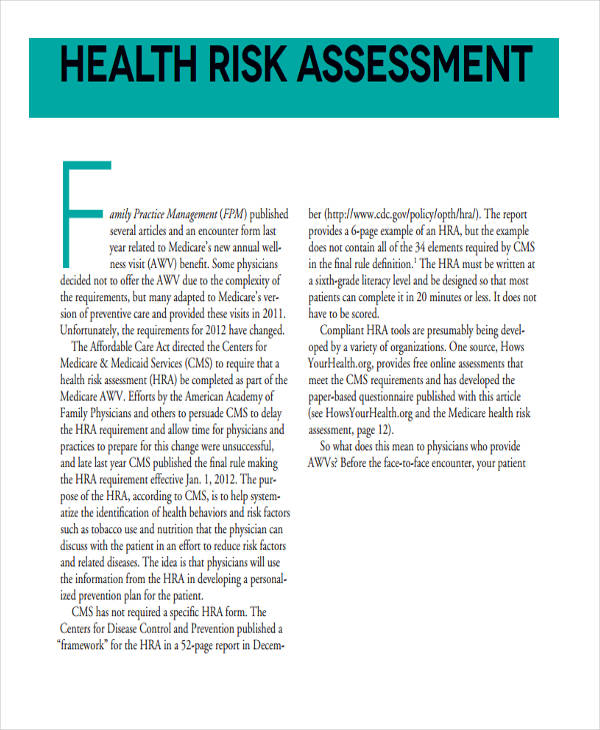 family health risk assessment