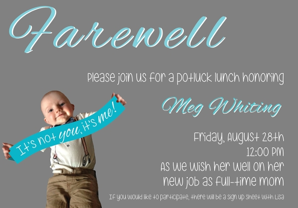 Farewell Team Lunch Invitation