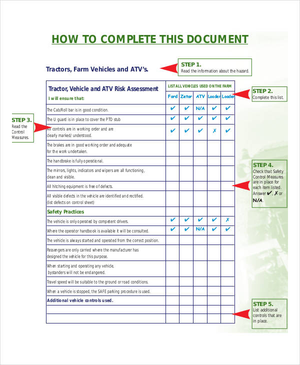 food safety risk assessment template - 40 risk assessment examples samples