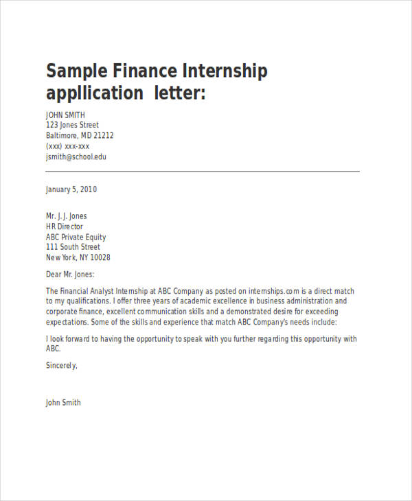 Finance Internship Application Letter