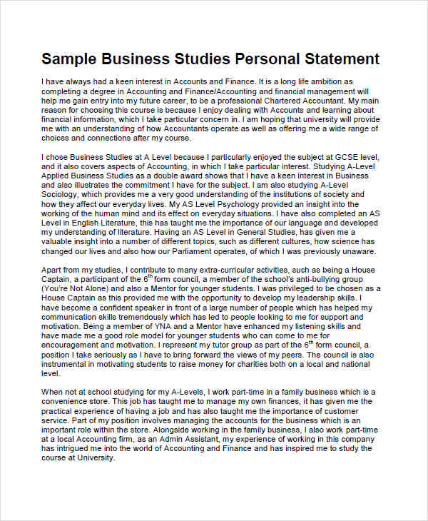 finance personal statement ucas