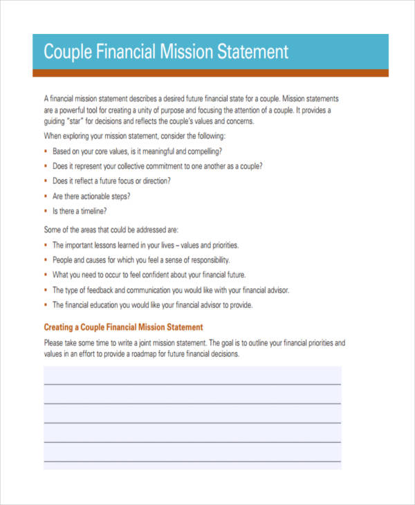 financial mission statement example