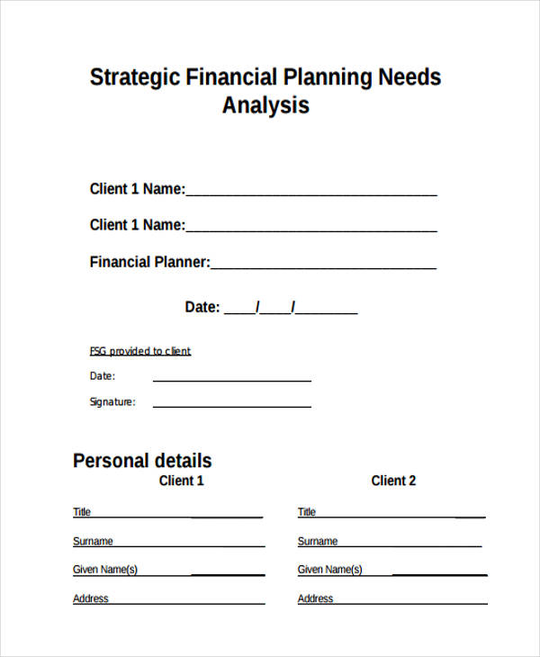 financial planning needs analysis