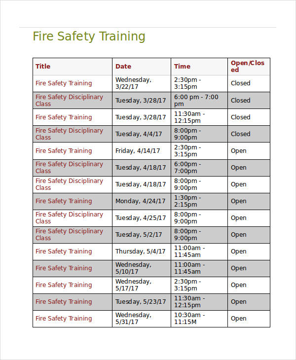 fire safety training agenda