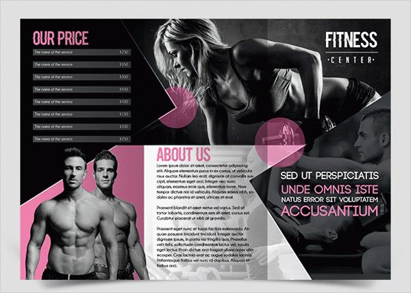 fitness center tri fold brochure
