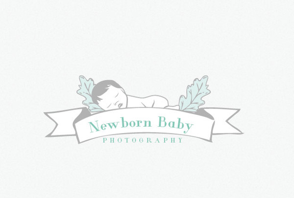 Flat newborn photography logo